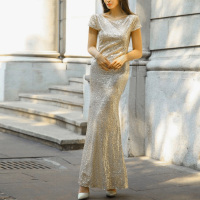 Bridal Mermaid Gold Sequin Bridesmaid Long Dress Stretchy Backless Fishtail Wedding Party Dresses Short Sleeve Maxi