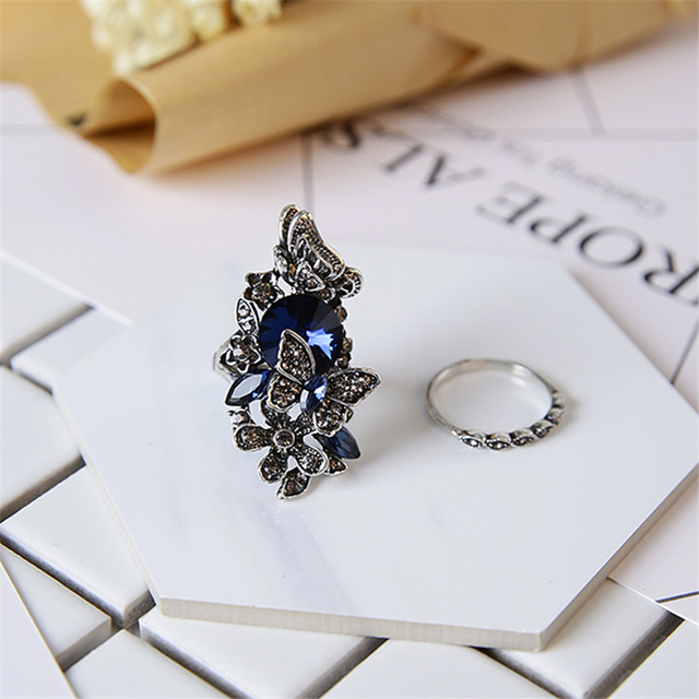 Fashi Vintage Accessories Jewelry Antique Silver Color Blue Crystal Flower Butterfly Finger Ring For Women Wedding