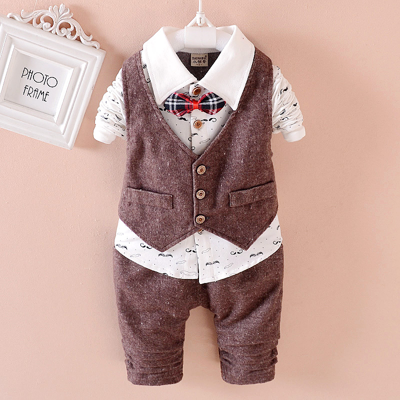 2017 New Spring 3PCS Kids Clothes Boys Baby Clothing Sets Vest Shirt Pants Toddler Boys Clothes Set Wedding Outfits Birthday kids clothing set plaid shirt with grey vest gentleman baby clothes with bow and casual pants 3pcs set for newborn clothes