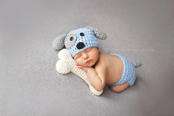 Newborn Puppy Baby Boy Hat Crochet Newborn Photo Prop Baby Boy