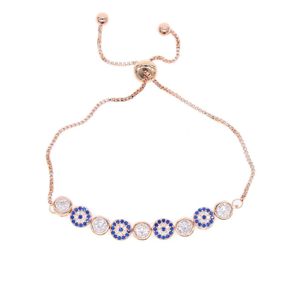 2019 Baru Mix 3 Warna Emas Warna Perak 5 Mm Memicu AAA + CZ Mata Jahat Link Rantai Gadis wanita Turki Perhiasan Paving Stone CZ Gelang