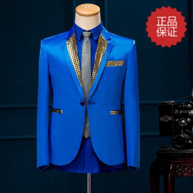 Свободный корабль мужские этап производительность блестками воротник синий/красный смокинг, только куртка