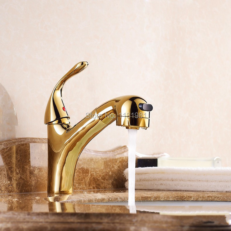 Bad Toliet Große Auslauf Badewanne Becken Sink Messingmischerhahn 1 STÜCK Goldenen Poliert Wasserhahn 8021 Karat
