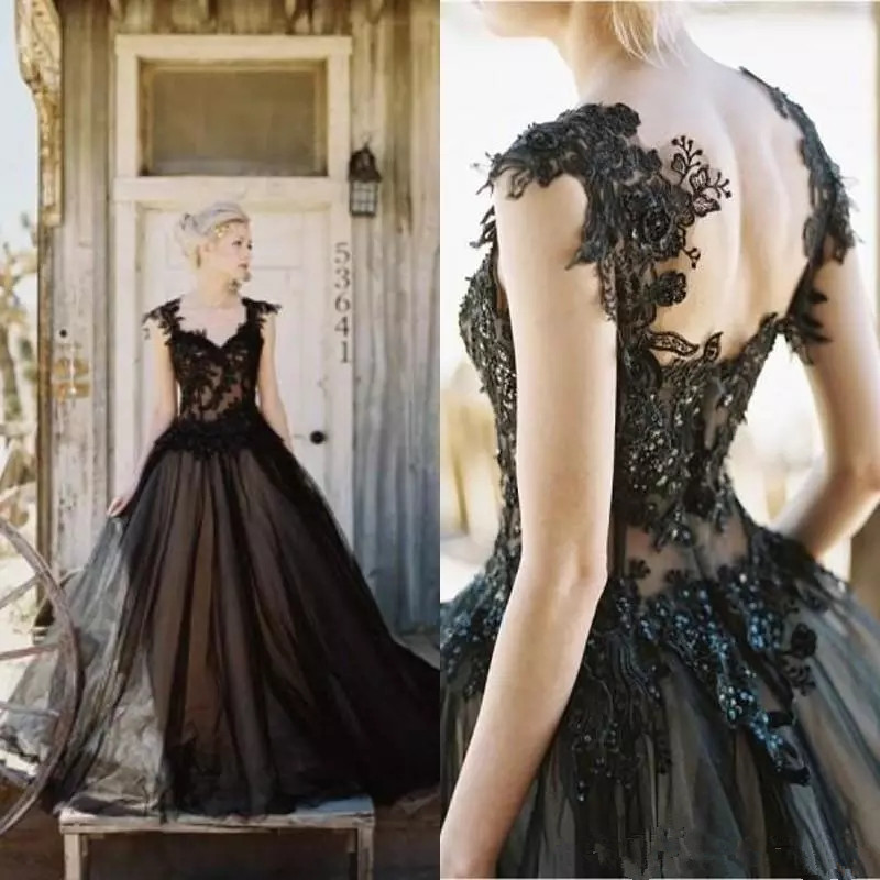 2019 Vintage Black Wedding Dresses Tulle Lace Applique sweetheart A line Gothic Beaded Backless Long Bridal