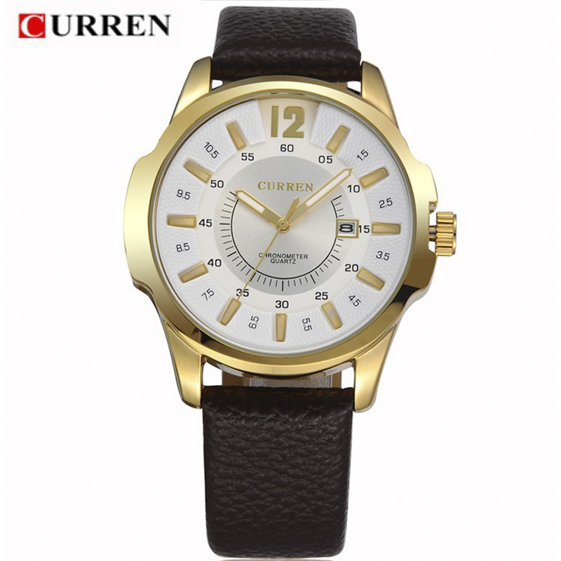 Hot Casual CURREN 8123 Men Watch Brand Luxury Wristwatches Men Auto Date Military Leather Sports Watch