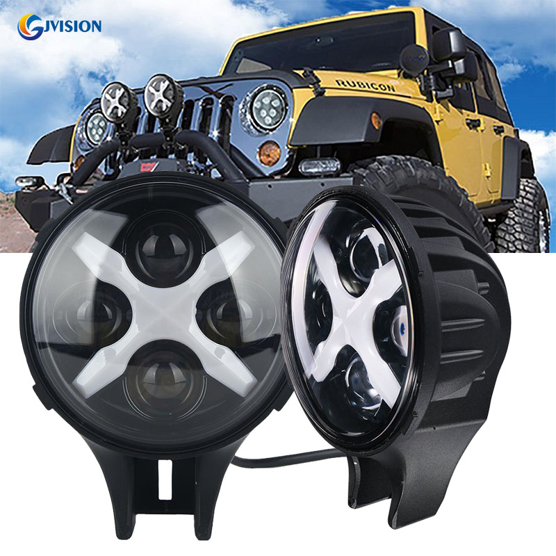 Truck accessories 6 inch led fog light 6000k white led work lamps for Jeep Wrangler 4WD Offroad led work light with Angel eyes 6 inch led headlights eagle light hi lo beam halo ring angel eyes x drl for offroad jeep wrangler front bumper fog light
