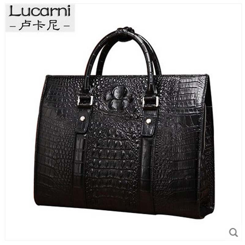 lukani New crocodile skin men handbag mens crocodile leather business men handbag a big business briefcase