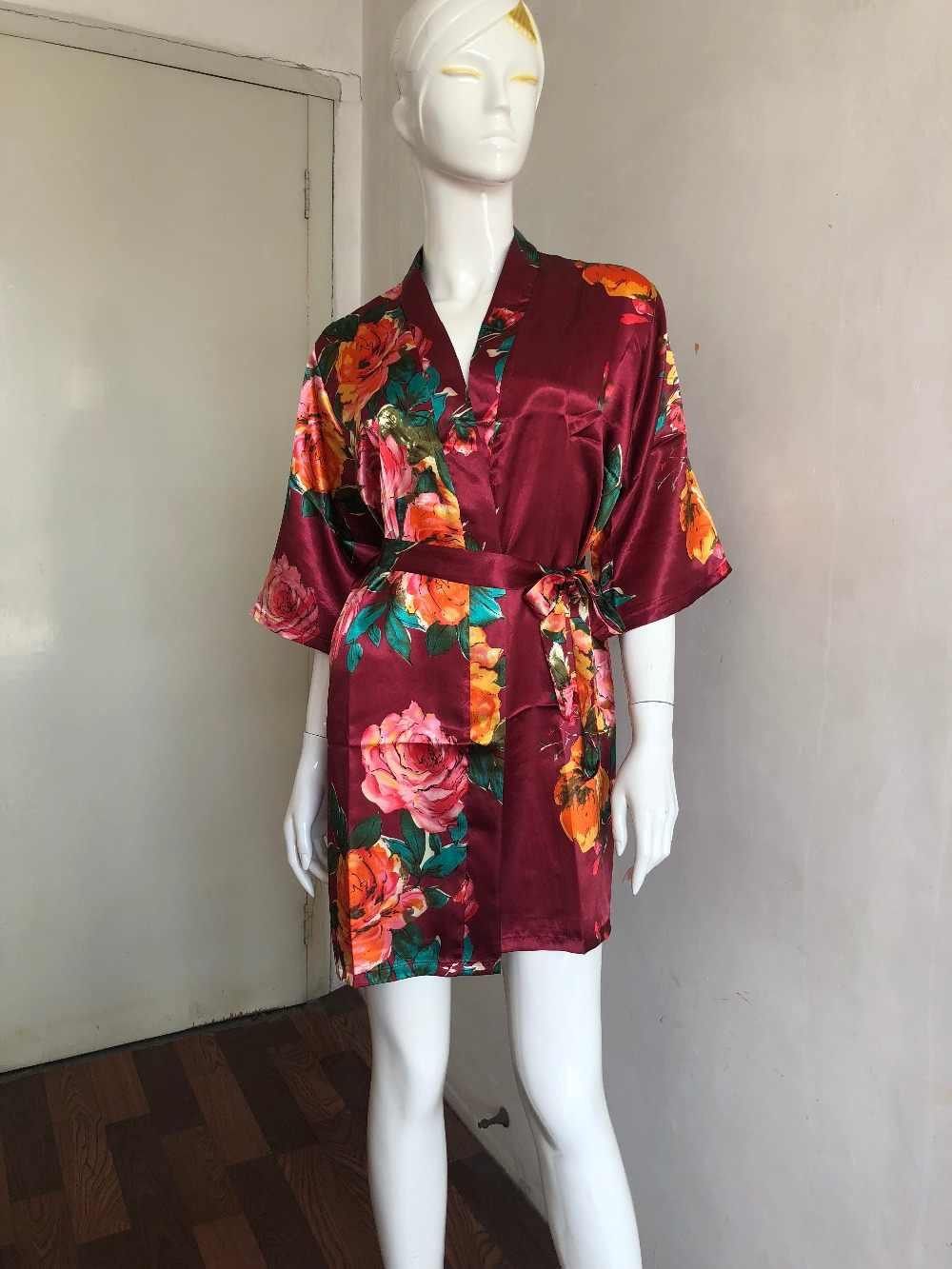 Pernikahan Berpakaian Gaun Pengantin Mini Jubah Kimono Jubah Seksi Pesta Pengantin Jubah Dicetak Bridesmaid Jubah Bridal Shower Hadiah