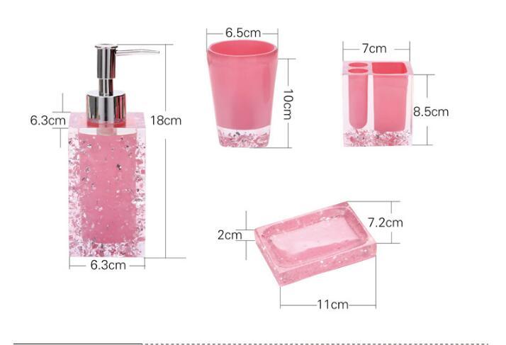 Haut de gamme résine salle de bains série salle de bain ensemble accessoires glace cristal diamant savon plat tasse Lotion bouteille lavage tasse cadeau de mariage - 5