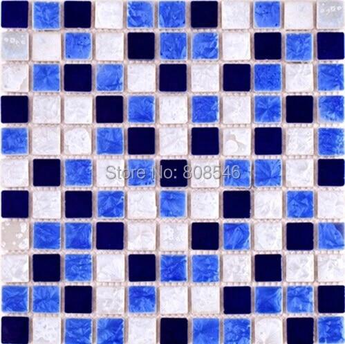 carrelage mosaique en porcelaine polie de chine autocollant mural en ceramique bleu marine blanc dosseret de cuisine salle de bain douche piscine