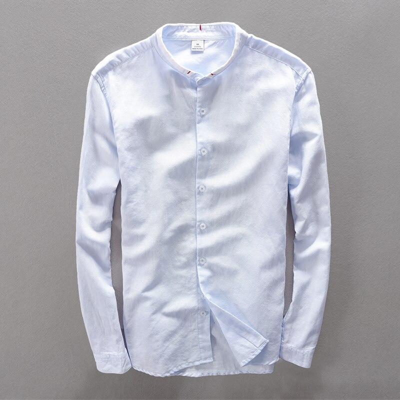 Suhaiwe moda moške slim majica z dolgimi rokavi posteljnina srajco - Moška oblačila - Fotografija 1