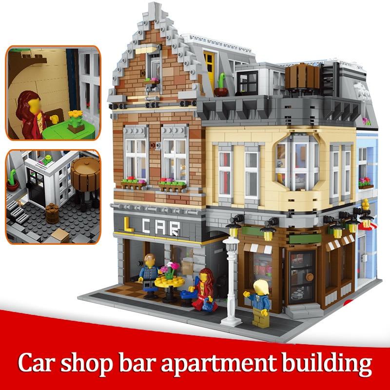 Car Shop Bar Apartment Building MOC Street View Creator 4210Pcs Building Blocks Bricks Compatible With Legoings Toys цена
