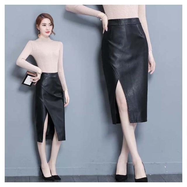 a0e8244306 women black faux leather skirt pencil faldas mujer moda autumn street style  2018 wrap midi skirts