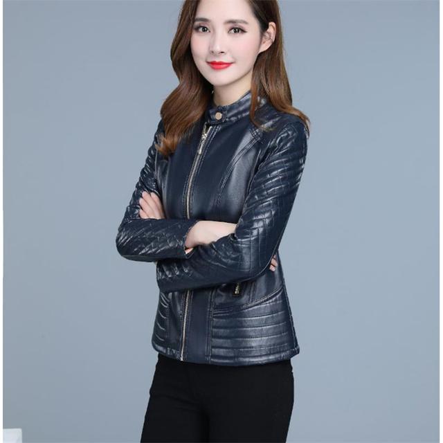 Faux Leather Coat Women Autumn Korean Short Slim XL-6XL Plus Size Black Yellow Long Sleeve Fashion Fishtail Plaid Jacket JD310