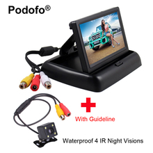 """Podofo 4.3 """"складной вид сзади автомобиля Мониторы Реверсивный Цвет TFT ЖК-дисплей Дисплей для грузовик Водонепроницаемый заднего вида камера"""
