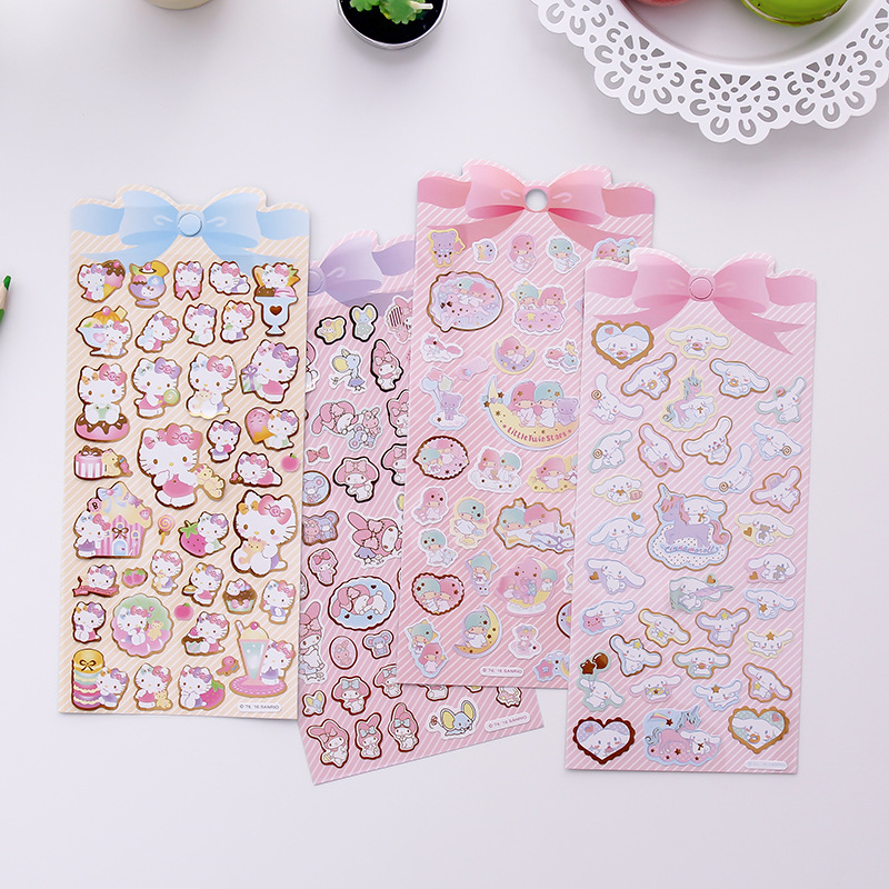 Cinnamoroll Kitty Melody Twin Star Decorative Gilding Stickers Scrapbooking Album Mobile phone Stick Label Diary Stationery