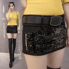 Весенняя и Летняя женская тонкая сексуальная юбка с блестками, женская тонкая короткая юбка