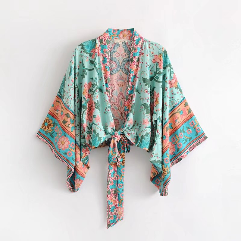 2018 V Neck Flower Print Lacing Up Waist Kimono Shirt Holiday New Women Laminated Lantern Sleeve Beach Bow Tie Short Blouse Tops Women's Clothing