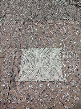 hot selling french net lace fabric with silver glued glitter fashion H-72301 glitter african tulle lace fabric with glitter