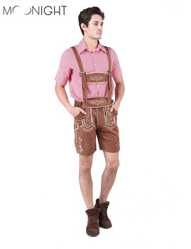MOONIGHT 2 Pcs Hot German Beer Man Costumes Adult German Bavarian Oktoberfest Costume Men Halloween Cosplay Costumes