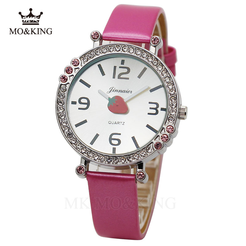 Luxury Brand Waterproof Diamond Fruit Strawberry Cute Cartoon Children's Boys Girls Kids Quartz Wrist Watch Clock Watches Reloj