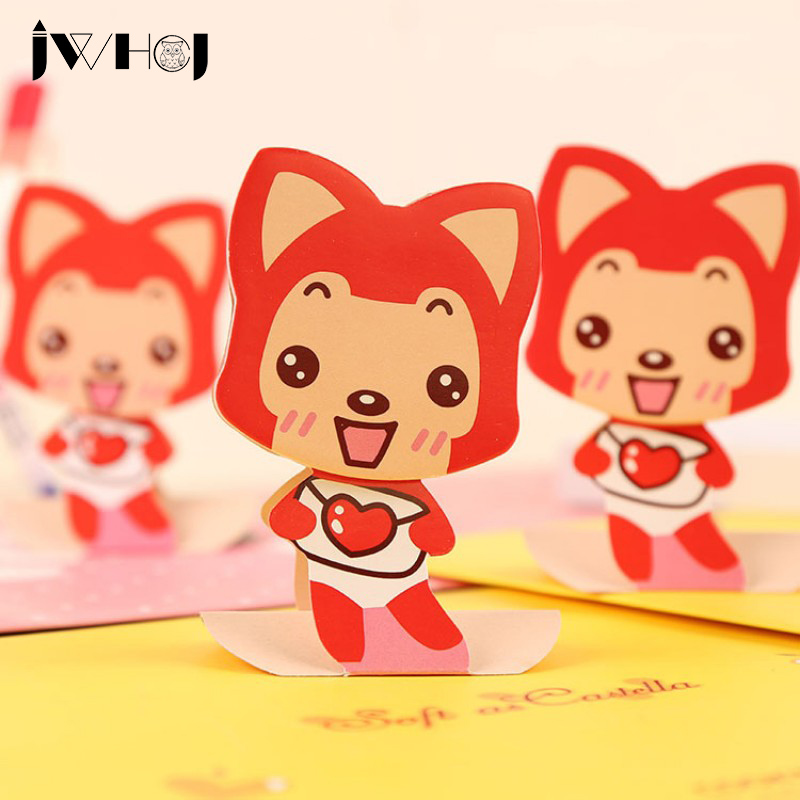 2 pcs X 30 sheets Cute fox memo pad paper sticky notes post notepad kawaii stationery papeleria school supplies