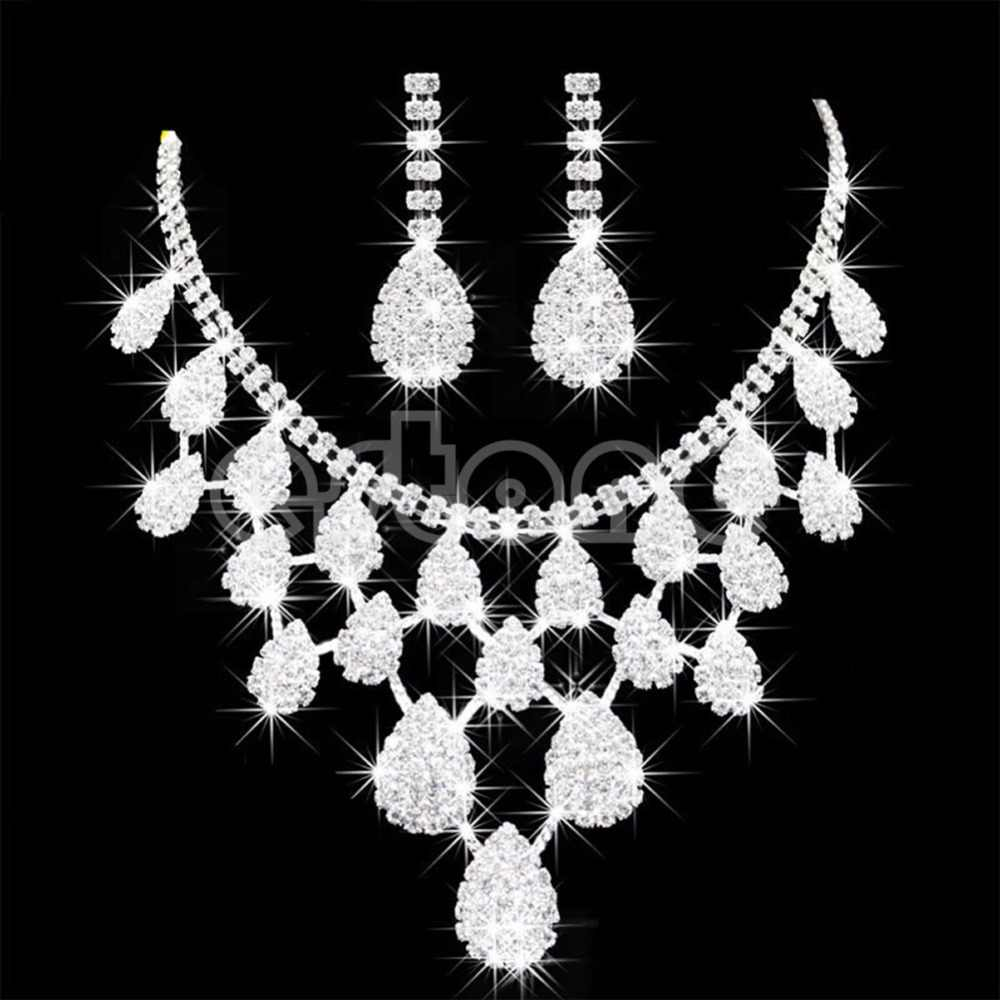 Women Prom Wedding Bridal Crystal Rhinestone Drop Necklace Earrings Jewelry Sets