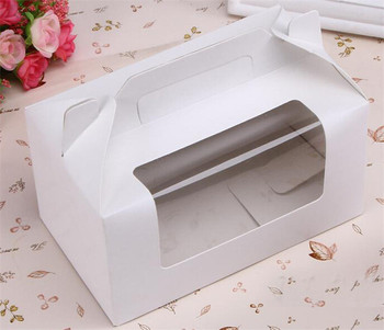 100pcs/lot  white paper 2 cupcake cups  muffin cheese cake box portable handle boxes