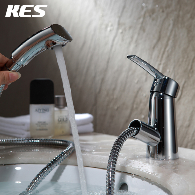 Kes L3902a Bathroom Lavatory Single Handle Vanity Sink Faucet With Pull Out Spray Wand