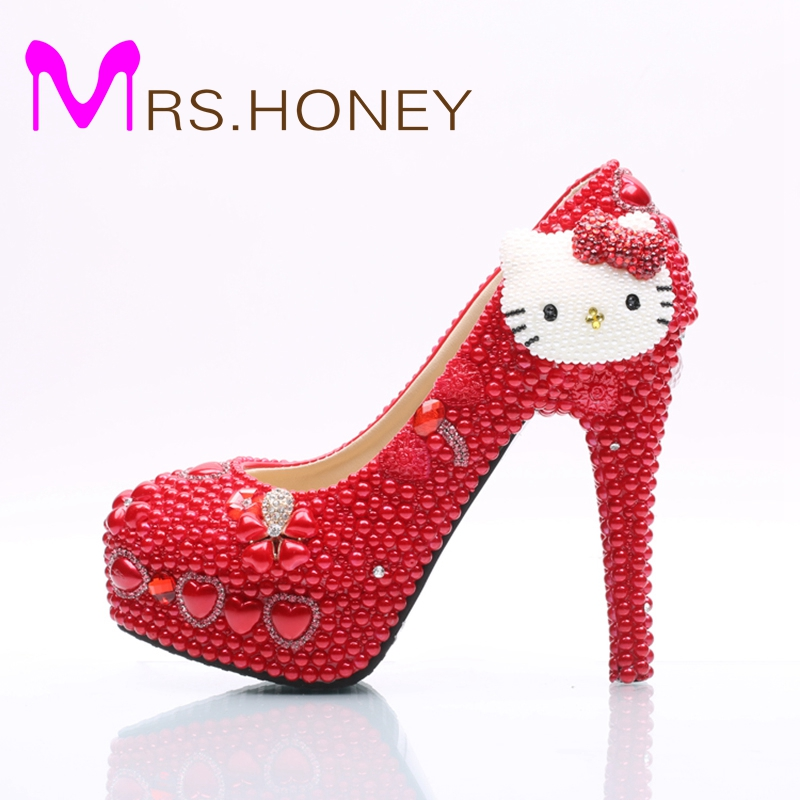цена на New Design Handmade Red Wedding Shoes Hello Kitty Decoration Rhinestone Bridal Dress Shoes Red Pearl Prom Party Pumps Plus Size