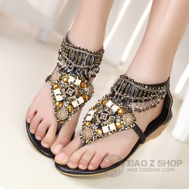 de500878a9 US $33.5 |free shipping Handmade beaded gold paillette bohemia national  trend vintage female flip flop flat sandals 888-in Women's Sandals from  Shoes ...