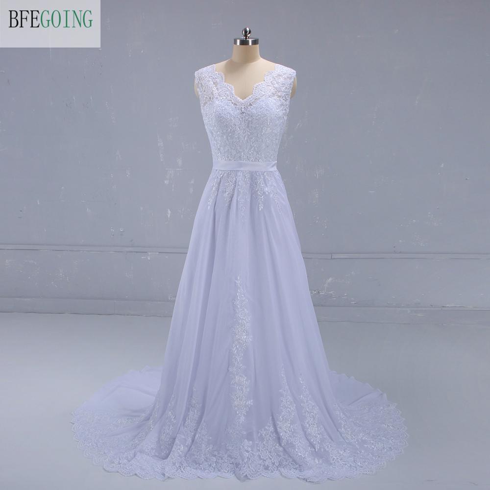 White Appliques Lace Chiffon Satin Sleeveless  V-Neck  Floor-Length A-line Wedding Dress  Chapel Train  Custom Made