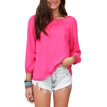 2017 NEW New Fashion Women Clothing Chiffon Shirt Summer Loose Backless Bow Blouse rose red
