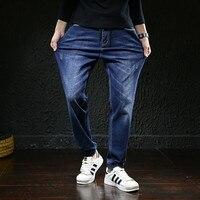 Elasticated Waist Ankle Length Bunch Foot Ripped Jeans For Hombre Baggy Homme Men Hip Hop Streetwear Plus Size Jean Biker Denim