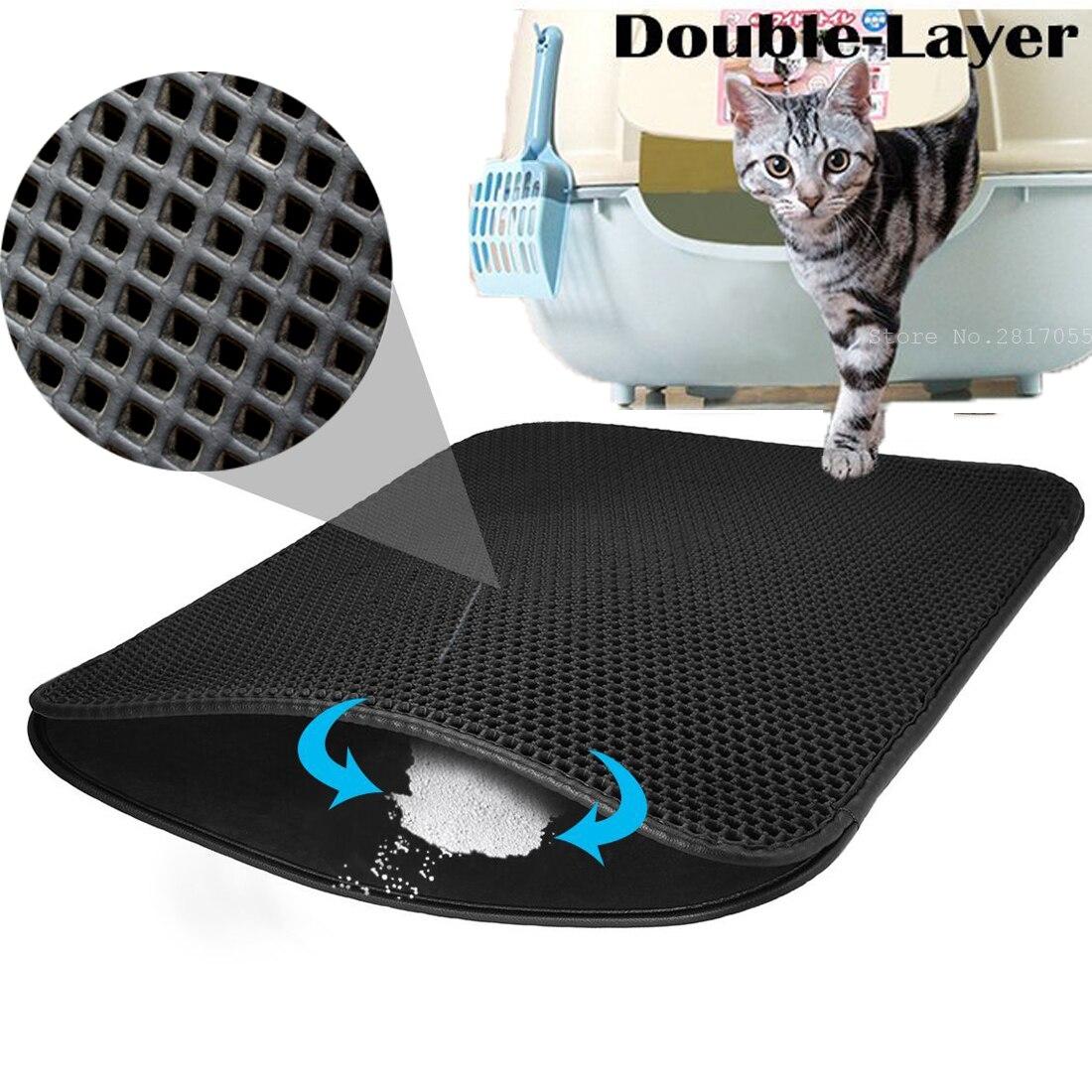 Small Medium Large Waterproof Cat Litter Mat Pad Black