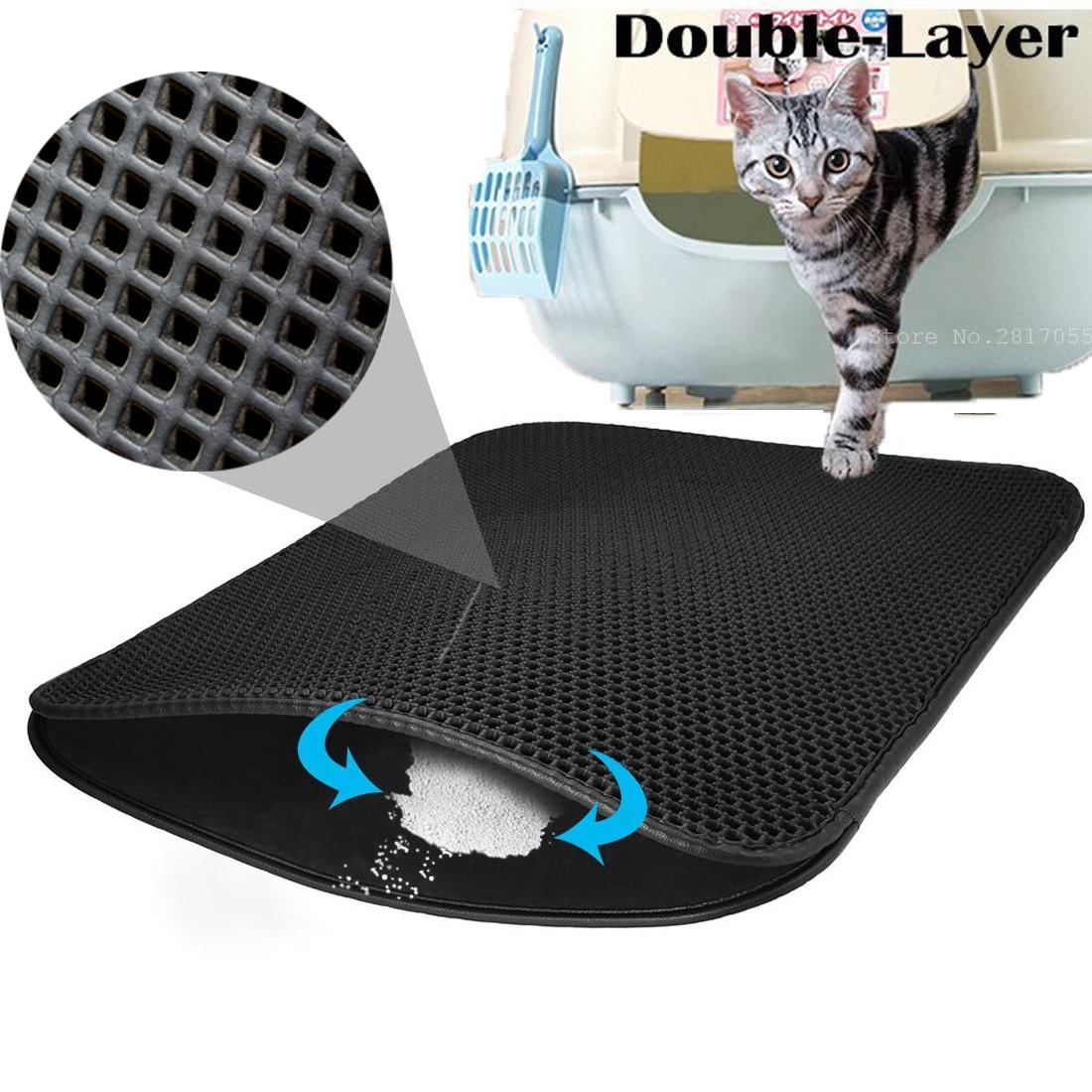 Small Medium Large Waterproof Cat Litter Mat Pad Black Cats Litter Trapper Double Layer Nonslip EVA Protect Floor Feeding Mats
