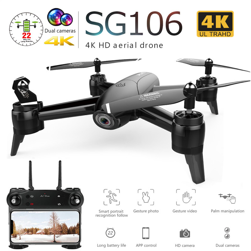 SG106 Drone With Dual Camera 1080P 720P 4K WiFi FPV Real Time Aerial Video Wide Angle Optical Flow RC Quadcopter Helicopter Toys(China)