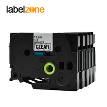 цена на 5packs Laminated Tze131 Ribbon Compatible for Brother P-touch Label Machine Black on Clear Tze-131 Label Tapes Ribbon Cassette
