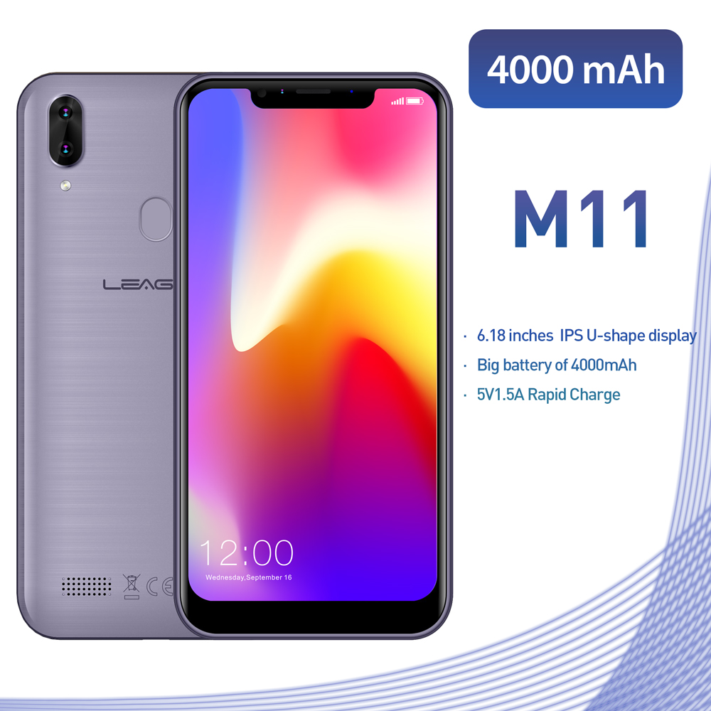 "Original LEAGOO M11 4G Fingerprint Mobile Phone 6.18"" Dual SIM Android 8.1 Quad Core 2GB RAM 16GB ROM 4000mAh Face ID Smartphone"