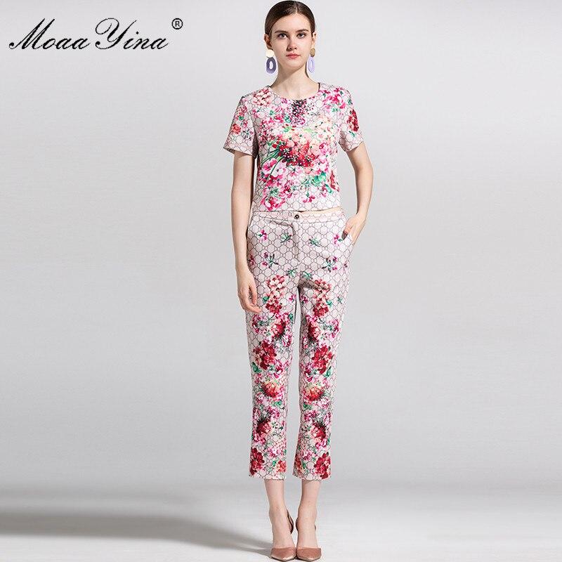 Fashion Pantalon Ensemble Chemisier 3 rose Élégant 4 Manches Floral D'été Femmes Piste Perlé Crayon Imprimé Vert Courtes Moaayina 2018 À Designer UwIg5g