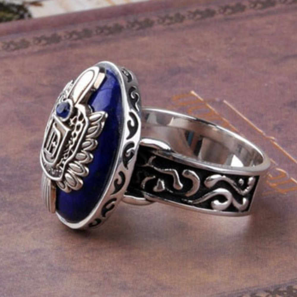 Fashion Vintage Vampire Diaries Rings Anillos Salvatore Damon Reborn Ring Aneis Stefan finger Family Crest RING Dropship