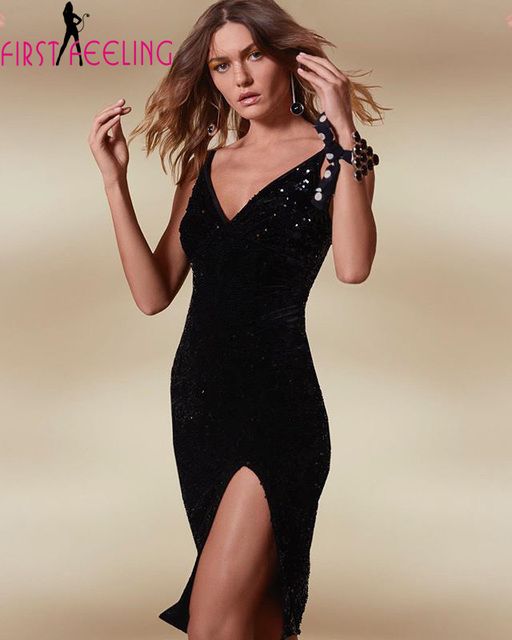 Amazing New Design Lady Sexy Black Bling Sequined Bodycon Midi Dress  Elegant V Neck Nightclub Dancing 69236689ca0c