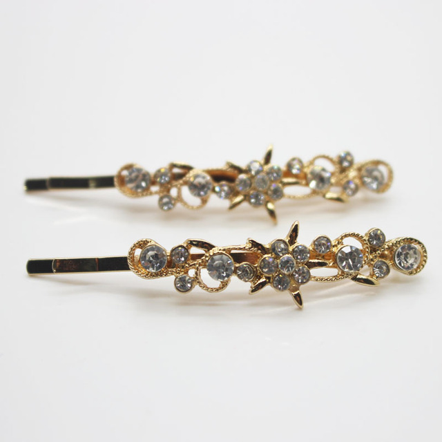 2 Pcs set floral crystal bobby pins glass decorated hair barrettes women s  fashion hair clips hair accessories wholesale 5db7956db6c0