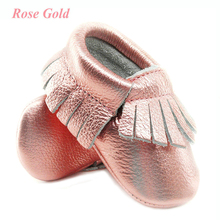 Shine Pink Genuine Leather Baby moccasins Soft Rose gold Baby girl shoes First Walkers infant Fringe Shoes 0-30 month 16 color