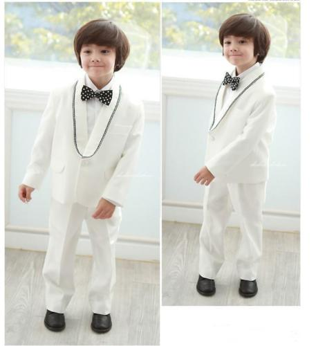 White Shawl Collar Cute Kid's Suits Custome Homme Fashion Tuxedos Wedding Boy Suits Formal Occasion Wear (Jacket+Pants+Bowtie)