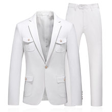MOGU 2019 New Arrival Fashionable Mens Suits White Groom Tuxedos Shawl Lapel Men Suits One Button Wedding Suits ( Jacket+Pants)(China)