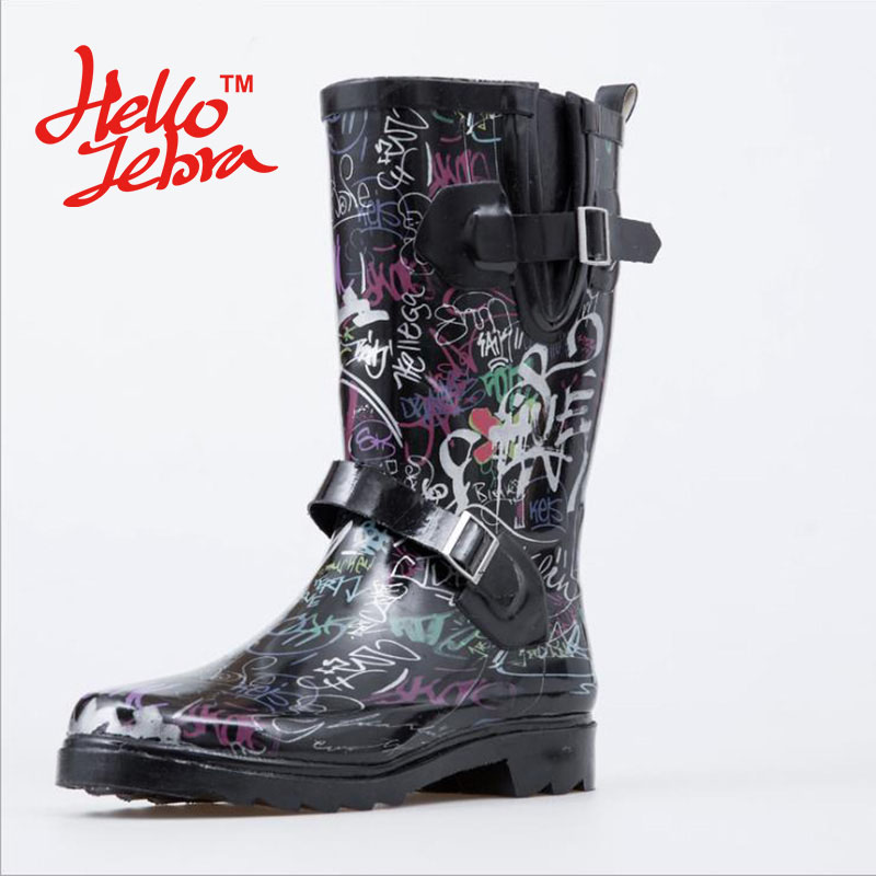 Women Rain Boots Handwriting Graffiti Lady Low Hoof Heels Mid Calf Slip Waterproof Round Toe Rainboots 2016 New Fashion Design 0 4 mm 24 colors fineliner pens marco super fine draw not stabilo point 88 marker pen water based assorted ink no tox material