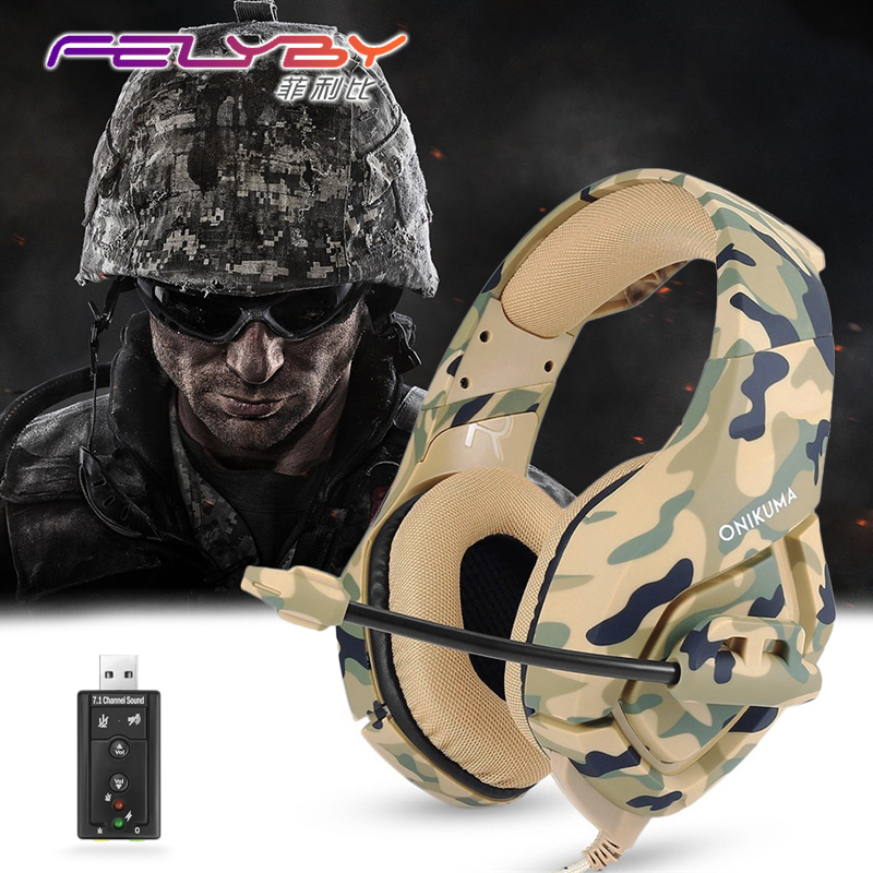 FELYBY Camouflage army gaming headphones green Noise canceling for computer PS4 PSP phone 3.5mm Wired headset with Microphone gaming headset earphones with microphone noise canceling 50mm driver headphones for computer
