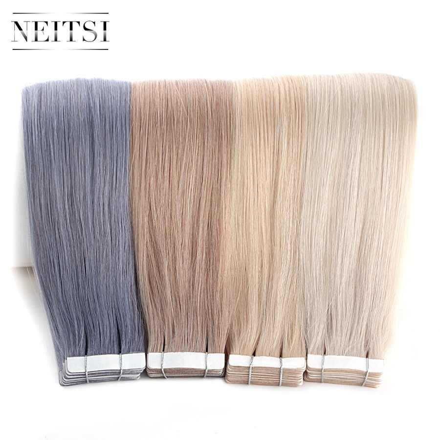 """Neitsi 10PCS Remy Tape In Human Hair Extensions Double Drawn Adhesive Straight Hair Skin Weft 16"""" 20"""" 24"""" Multi Colors"""