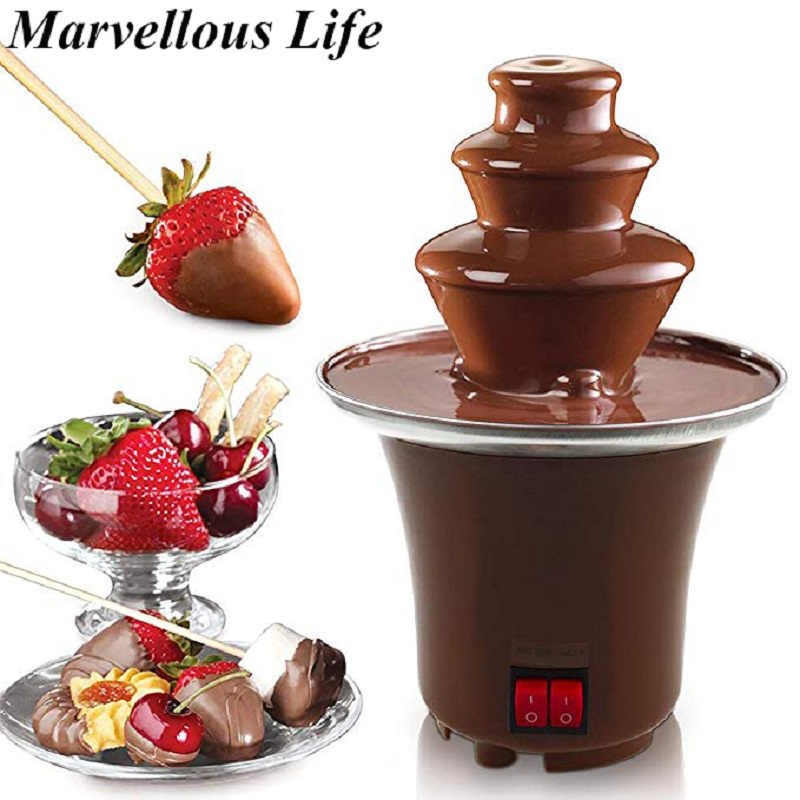 YOHOLOO New Mini Chocolate Fountain Household Chocolate Melting Machine Electric Heating Chocolate Fountain Home недорого